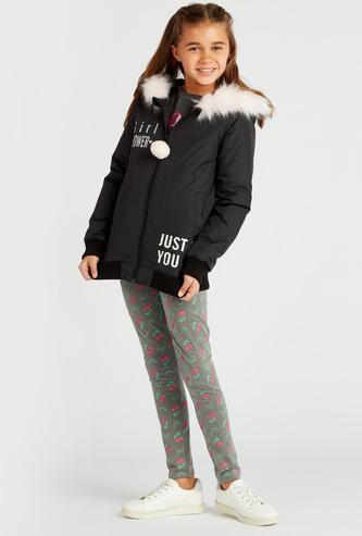 Slogan Print Padded Jacket with Hood