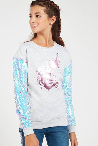 Embellished Unicorn Sweatshirt with Long Sleeves
