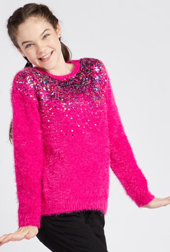 Sequin Embellished Sweater with Round Neck and Long Sleeves
