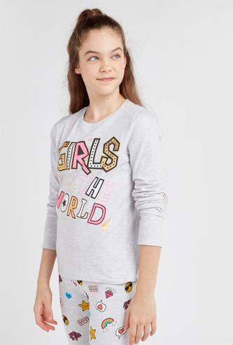 Girls Rock the World Print T-shirt with Round Neck and Long Sleeves