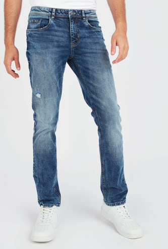 Slim Fit Distressed Jeans with Pockets