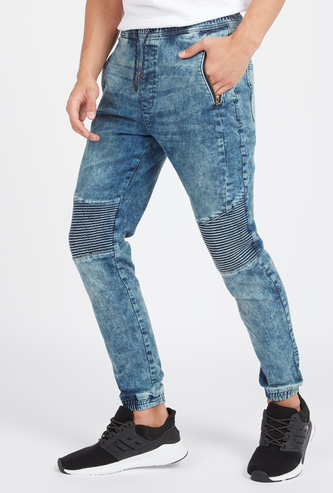 Slim Fit Textured Mid-Rise Jeans with Elasticised Waistband