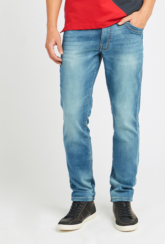 Slim Fit Full Length Solid Jeans with Pocket Detail and Belt Loops