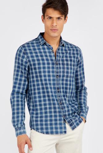 قميص سليم كاروهات بأكمام طويلة