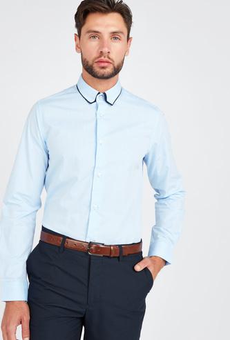 قميص سليم سادة بأكمام طويلة وياقة مزدوجة