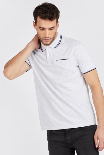 Solid Polo T-shirt with Short Sleeves and Contrast Tipping