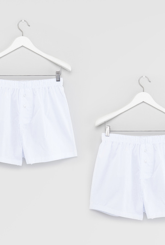 Set of 2 - Solid Boxers with Button Detail and Elasticised Waistband