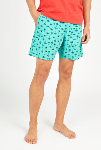 All Over Print Shorts with Pocket Detail and Drawstring