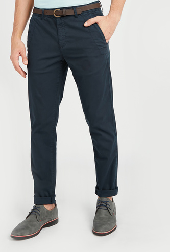 Full Length Solid Chinos with Pocket Detail and Belt