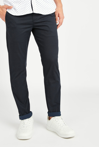 Textured Chinos with Pocket Detail and Belt Loops
