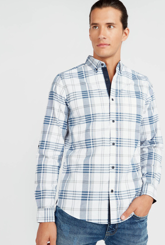 Checked Stretch Oxford Shirt with Long Sleeves