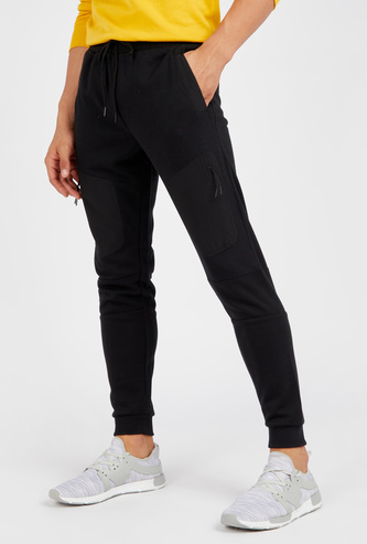 Solid Panelled Joggers with Drawstring Closure