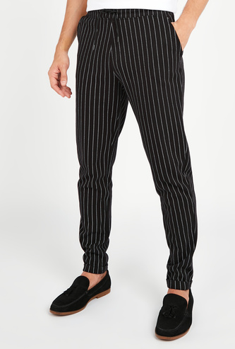 Slim Fit Striped Mid-Rise Pants with Pocket Detail and Drawstring