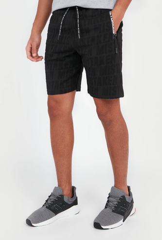 Slim Fit Printed Mid-Rise Shorts with Pocket Detail and Drawstring