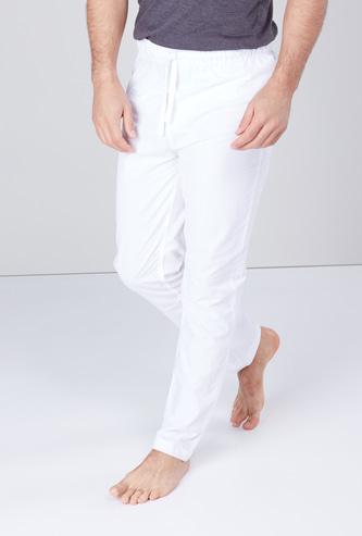 Solid Pyjamas with Drawstring Closure
