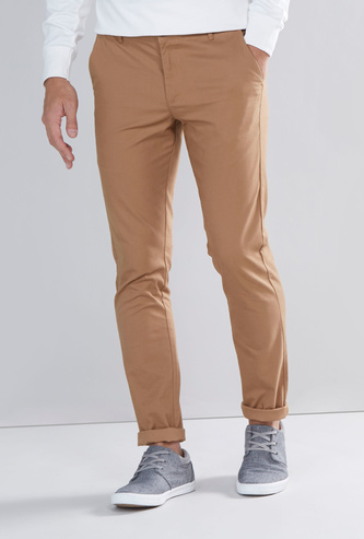 Solid Skinny Fit Chinos with Pocket Detail