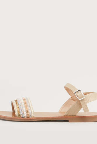 Embellished Sandals with Pin Buckle Closure and Stacked Heels