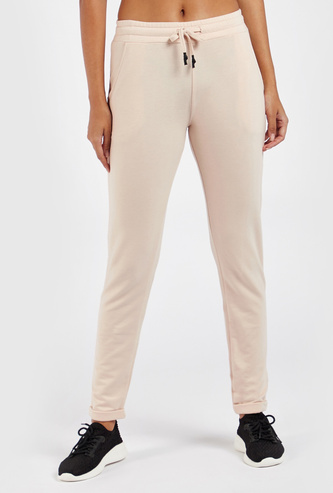 Solid Joggers with Folded Hems and Drawstring Closure