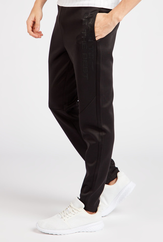 Text Print Full Length Track Pants with Drawstring Closure