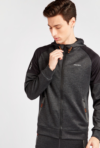 Textured Hooded Neck Jacket with Contrast Long Sleeves