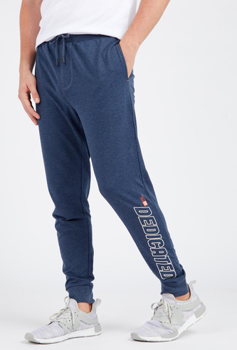 Printed Full Length Anti-Pilling Jog Pants with Pockets and Drawstring