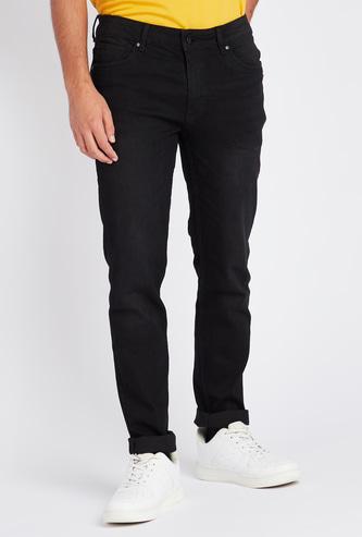 بنطلون جينز سكيني بخصر متوسط الارتفاع و5 جيوب