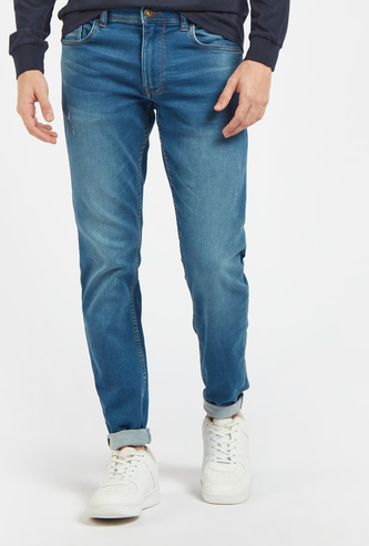 Skinny Full Length Jeans with 5-Pockets and Zipper Closure