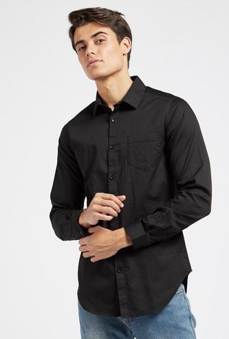 قميص سليم سادة بأكمام طويلة وجيب