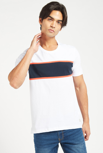 Panel Detail T-shirt with Round Neck and Short Sleeves