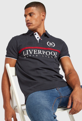 Liverpool Printed Polo T-shirt with Short Sleeves