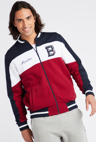 Zip Front Bomber Jacket with Long Sleeves and Pockets