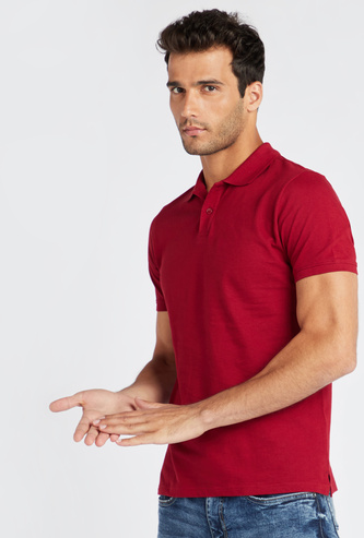 Solid Polo Shirt with Short Sleeves