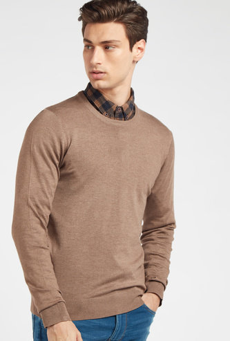 Solid Round Neck Sweater with Long Sleeves
