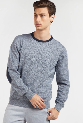 Textured Round Neck Sweater with Long Sleeves and Elbow Patches