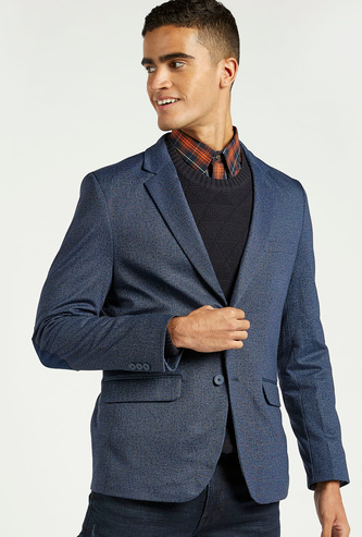 Textured Blazer with Notched Lapels and Long Sleeves