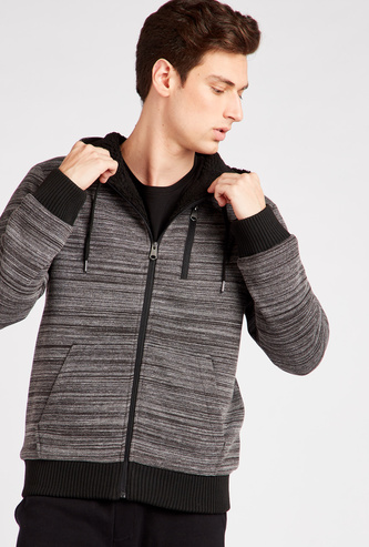 Space Dyed Front Zip Hoodie with Pockets and Long Sleeves