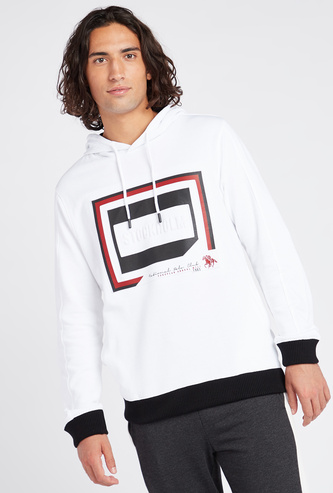 Typographic Print Hoodie with Long Sleeves