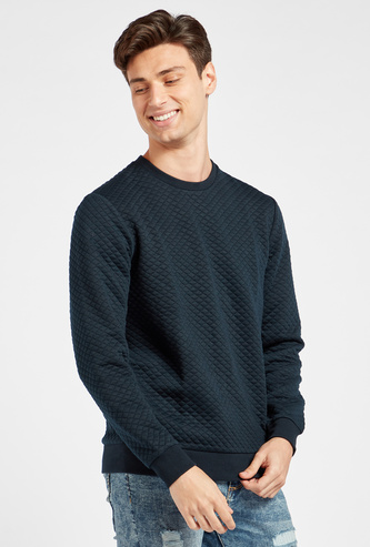 Quilted Sweatshirt with Crew Neck and Long Sleeves