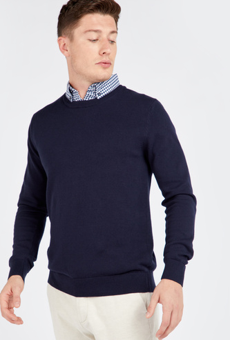 Solid Sweater with Mock Shirt Collar and Long Sleeves
