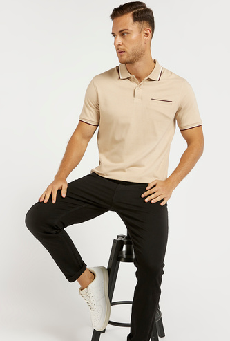 Solid Polo T-shirt with Tipping Detail and Pocket