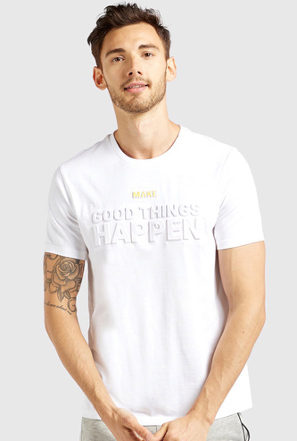 Slogan Embossed Round Neck T-shirt with Short Sleeves