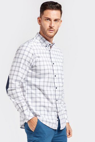 Checked Oxford Collared Shirt with Long Sleeves and Elbow Patch