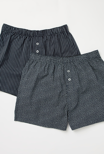 Set of 2 - Printed Shorts with Elasticated Waistband