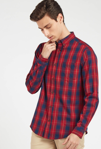 Checked Regular Fit Shirt with Button-Down Collar and Long Sleeves