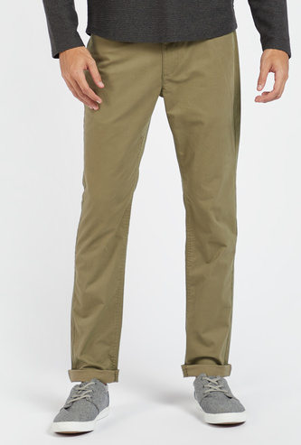 Solid Full Length Chinos with Pockets and Zip Closure