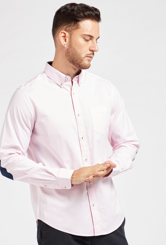 Solid Oxford Shirt with Button Down Collar and Long Sleeves