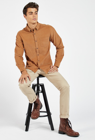 Slim Fit Textured Shirt with Spread Collar and Chest Pocket