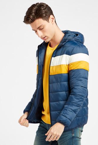 Colourblocked Parka Jacket with Hood and Long Sleeves
