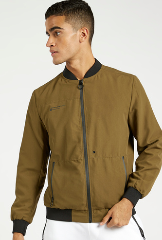Solid Bomber Jacket with Long Sleeves and Zip Pockets