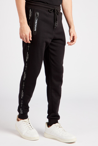 Tape Detail Full Length Jog Pants with Elasticated Drawstring Waist